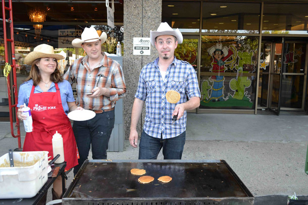 Calgary Stampede Flipping Off At The 4th Street Pancake