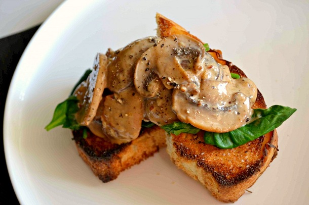 Creamy Roasted Garlic Mushrooms On Toast from Dan's Good Side