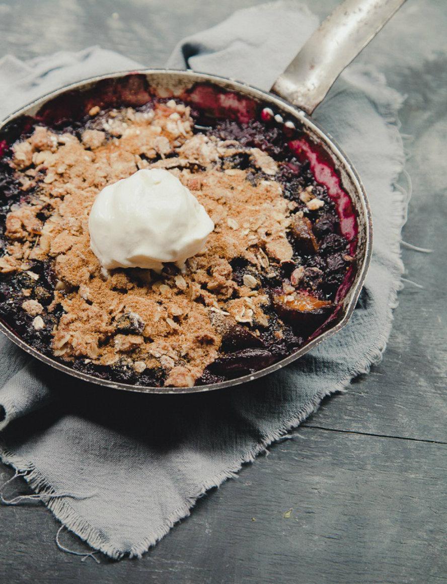 Gratinée: Gluten-Free Blueberry Plum Crumble   foodnetwork.ca