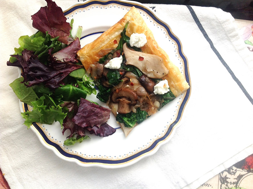 Dish, 2 Meals: Mixed Mushrooms with Caramelized Shallots and Spinach
