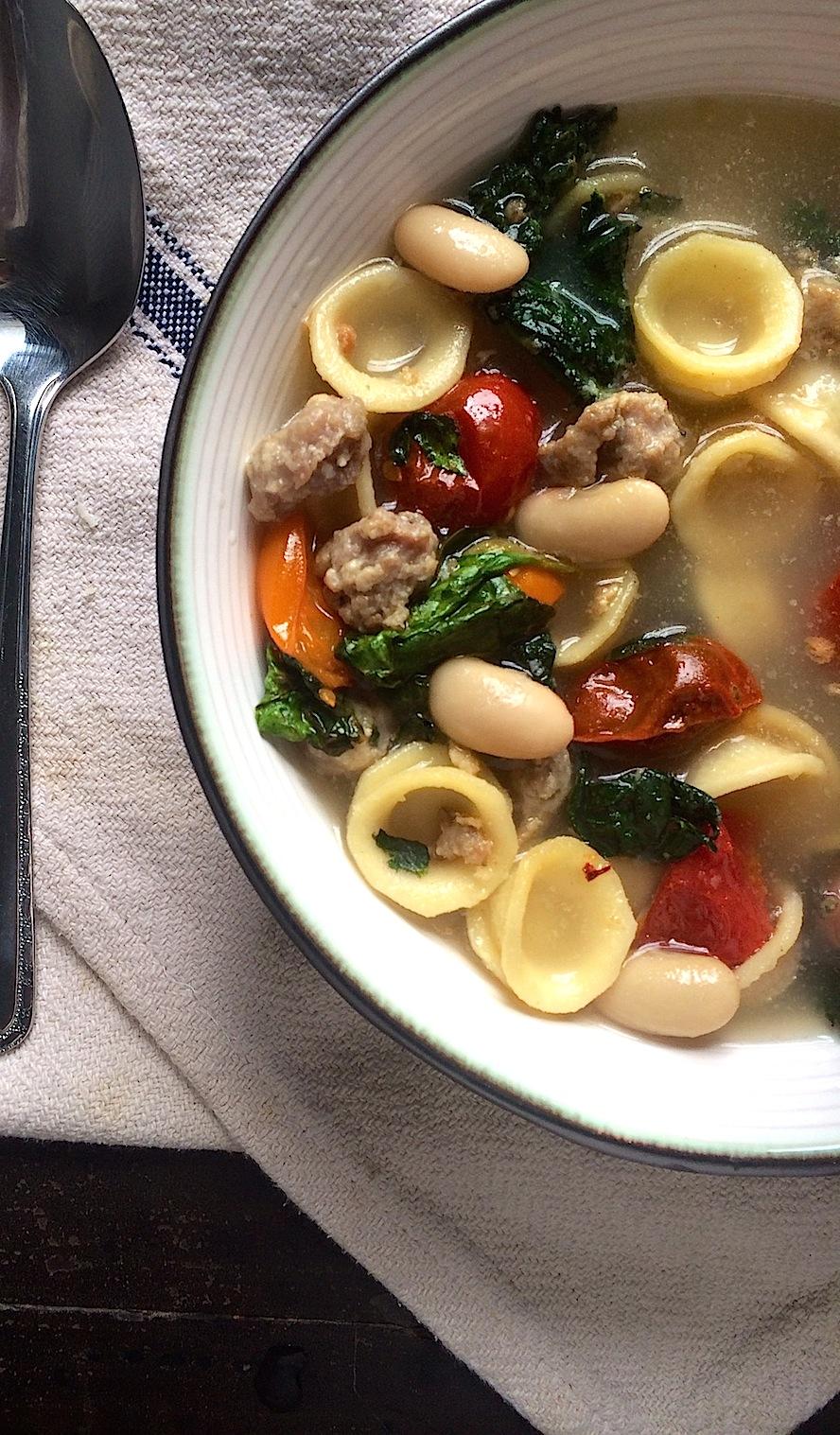 1 Dish, 2 Meals: Skillet Turkey Sausage with Rainbow Kale