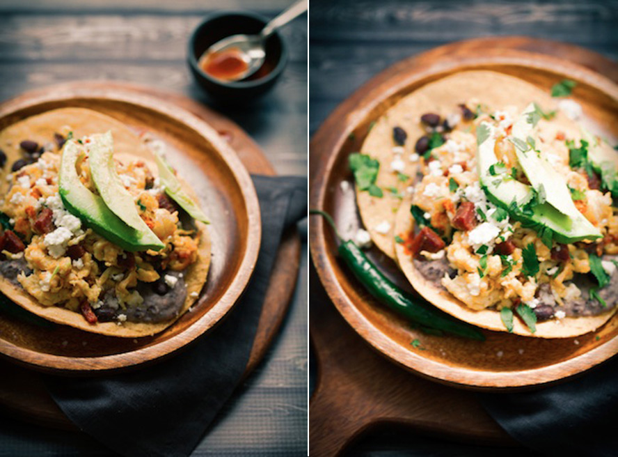 the black bean mash onto the tostadas and top with the scrambled egg ...