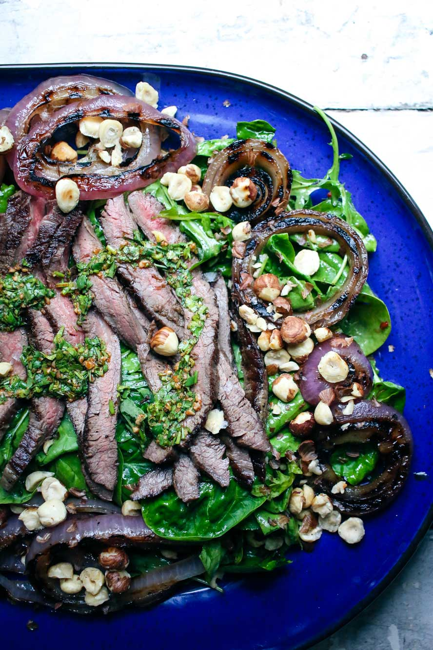 Grilled Flank Steak and Onion Salad with Cilantro Chimichurri and ...