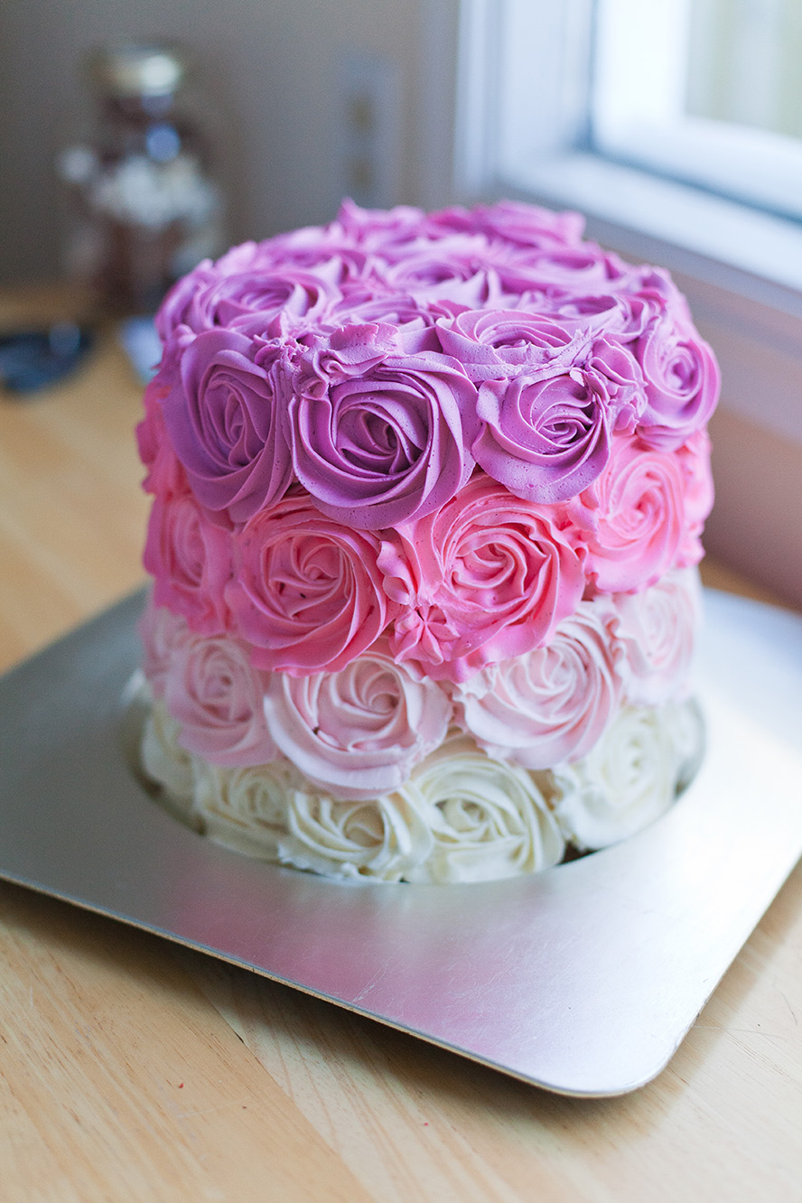 Rose Cake Design Icing : How to Make a Pink Ombre Rose Cake