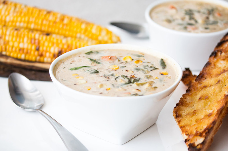 Roasted Bell Peppers And Raw Corn Chowder Recipe — Dishmaps