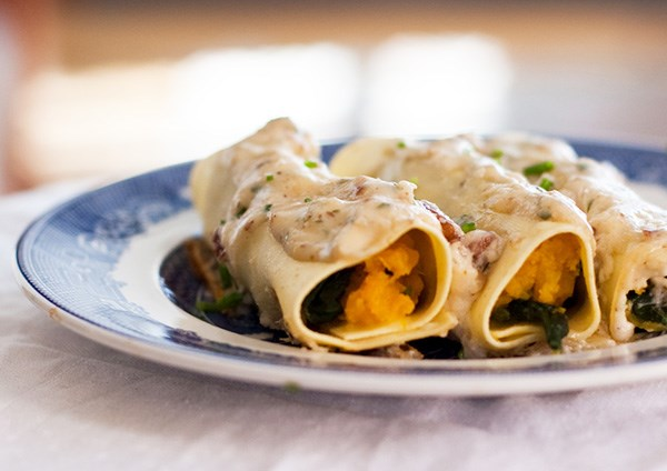 Rich Vegetarian Cannelloni with Butternut Squash, Pecans and Mascarpone