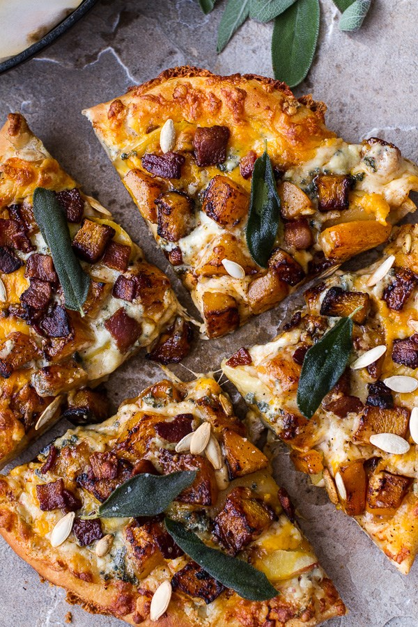 Sweet 'n' Spicy Roasted Butternut Squash Pizza w/ Cider Caramelized Onions & Bacon