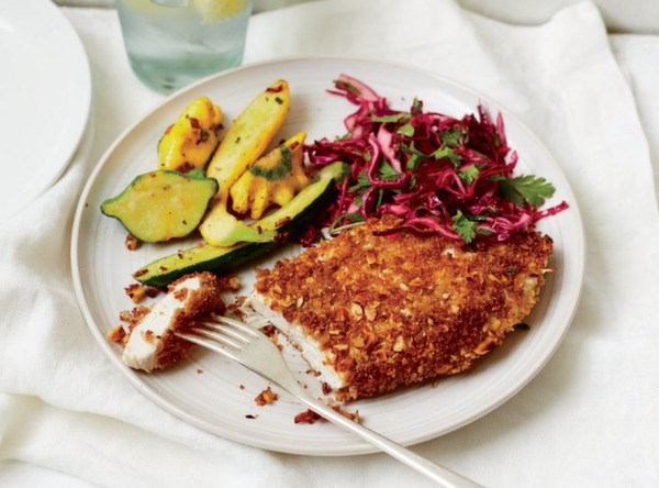 Almond Chicken Cutlets with Tangy Cilantro Slaw