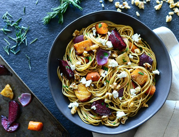 Whole Wheat Spaghetti with Roasted Root Vegetables