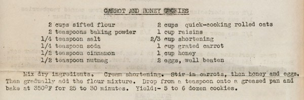 Recipe for carrot cookies ww2