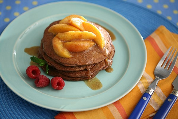 Chocolate Griddle Cakes with Cinnamon Peaches
