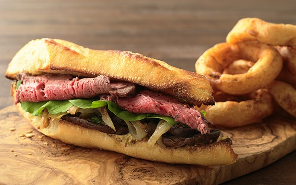 Steak Sandwich and Onion Rings