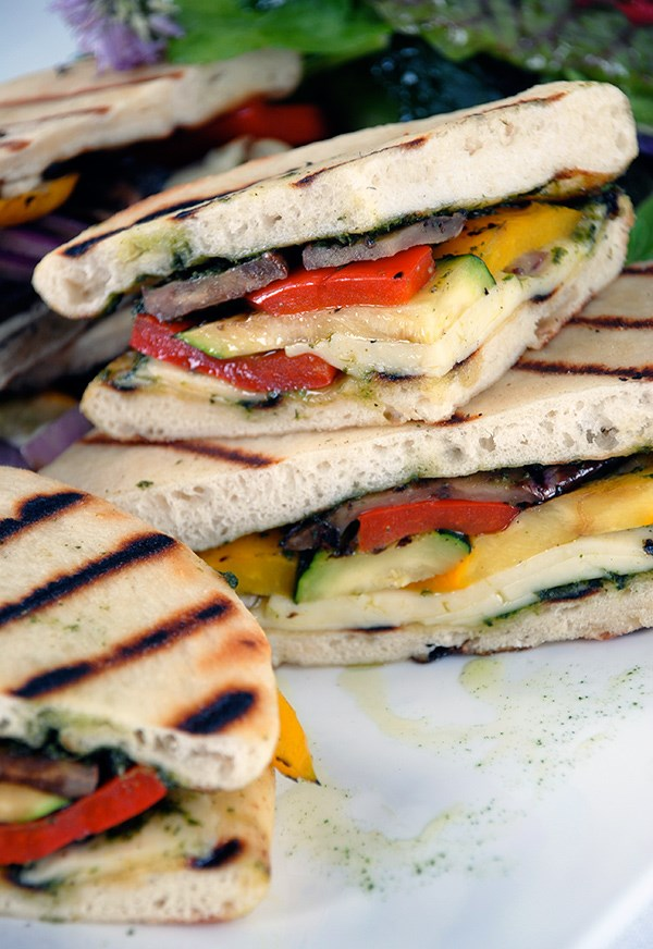 Grilled Panini Sandwiches with Roasted Vegetables