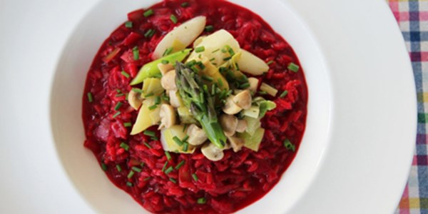 Beet Risotto with Asparagus and Mushroom Fricassée