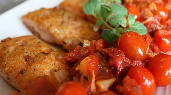 Pan Rushed Salmon with Three Tomatoes