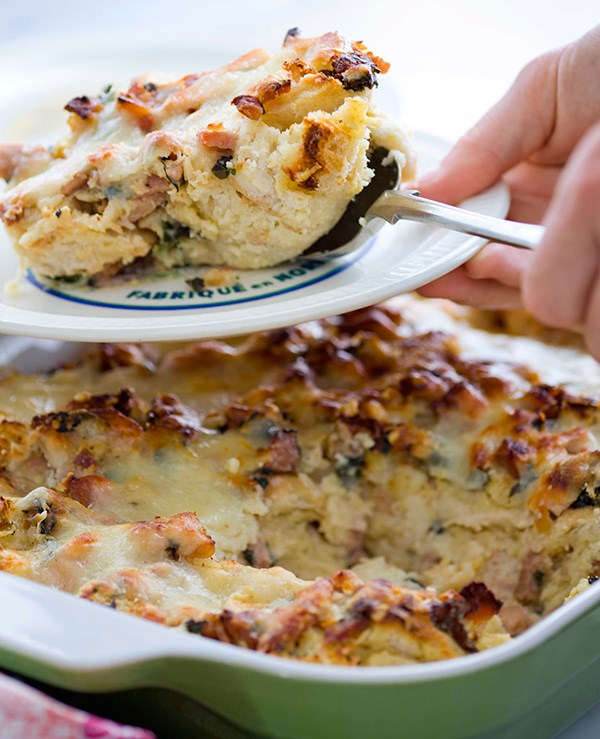 Ham, Cheese, and Spinach Strata