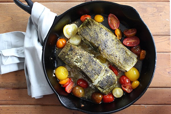 Seaweed-Crusted Halibut with Cherry Tomatoes