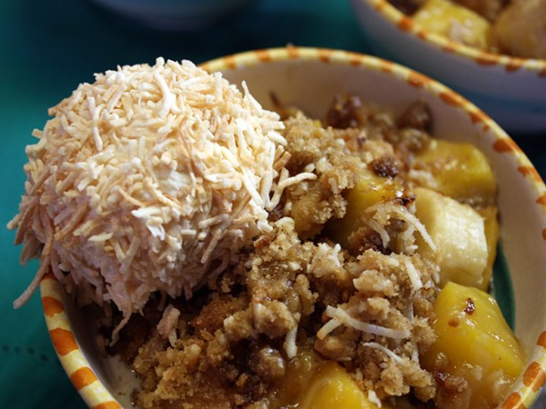 Tropical Fruit Crisp with Coconut Crusted Ice Cream