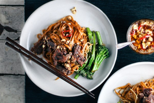 Chinese Crispy Beef & Broccoli Noodles with Kung Pao Chili Oil