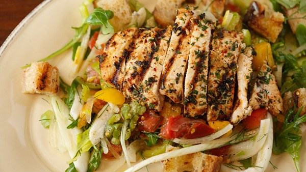 Grilled Garlic and Herb Chicken and Green Panzanella