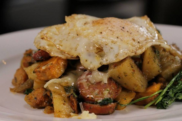 of 11 andouille sausage cheddar and potato hash andouille