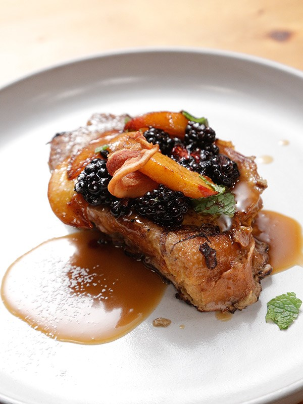 Stuffed French Toast with Pickled Peaches and Bourbon Caramel