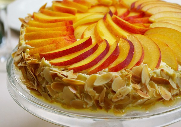 Almond Meringue Cake with Peaches