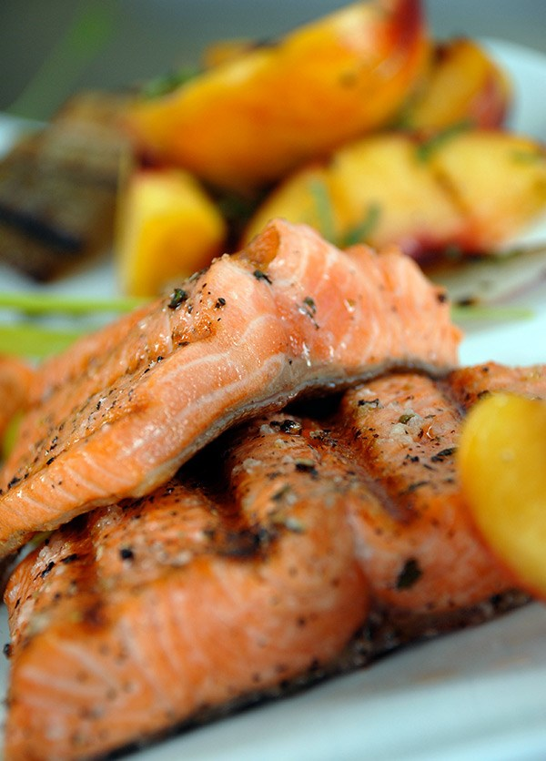Fresh Grilled Trout with Roasted Peaches