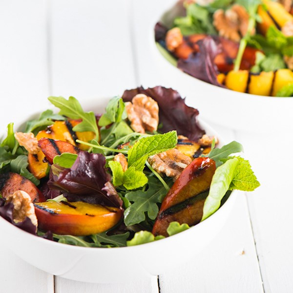 Grilled Peaches and Chorizo Salad