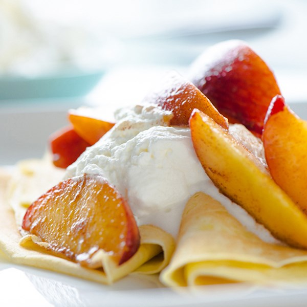 Peaches and Cream Crêpes