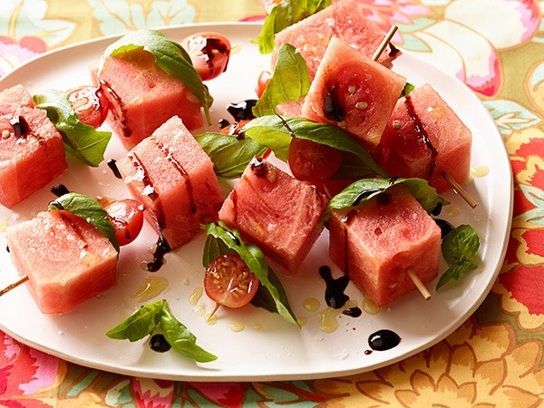Tomato, Watermelon and Basil Skewers