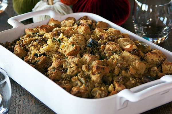 Cornbread Dressing with Sausage and Mushrooms