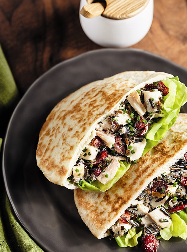 Chicken and Wild Rice Salad Pitas