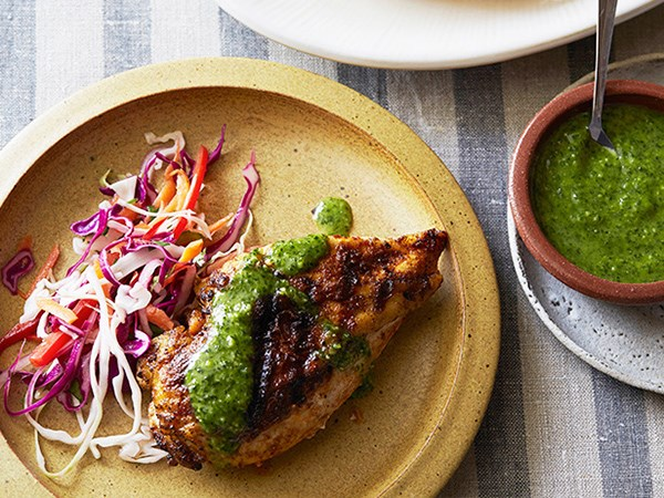 Spanish Spice-Rubbed Chicken Breasts with Parsley-Mint Sauce