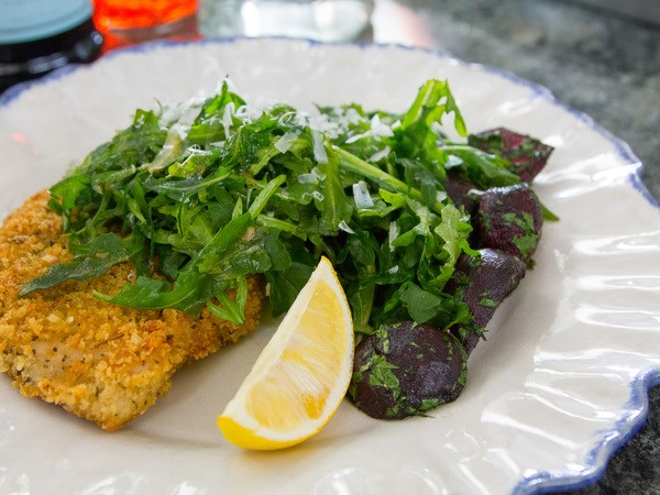 of 16 chicken cutlets with spicy arugula p tender pieces of chicken ...