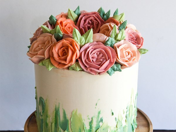 Cake Decorating Cream Flowers : 6 Buttercream Icing Cake Decorating Ideas Food Network ...