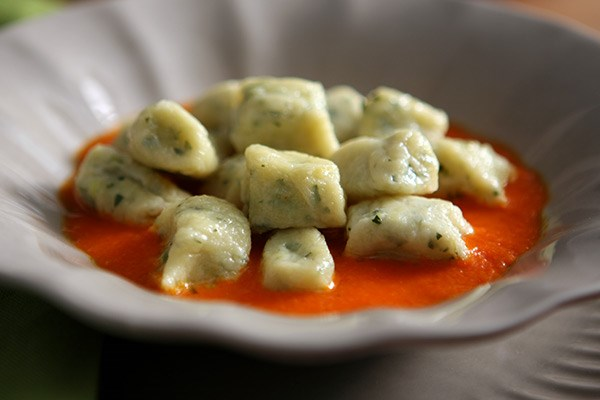 Goat Cheese Gnocchi with Pepper Coulis