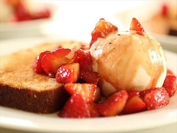 Butter-Toasted Vanilla Pound Cake with Macerated Strawberries