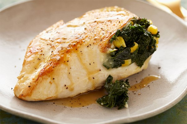 Kale and Corn Stuffed Chicken Breasts