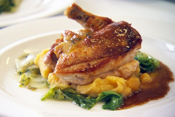Maple Mustard Glazed Brick Chicken with Maple Rutabaga Mash, Maple ...