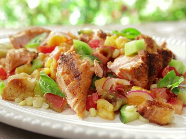 Heirloom Tomato and Grilled Corn Panzanella with Salmon