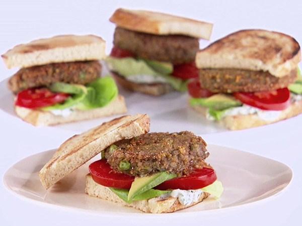 Lentil Burgers with Lemon-Basil Mayonnaise
