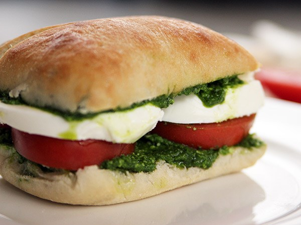 Tomato, Mozzarella and Pesto Sandwiches
