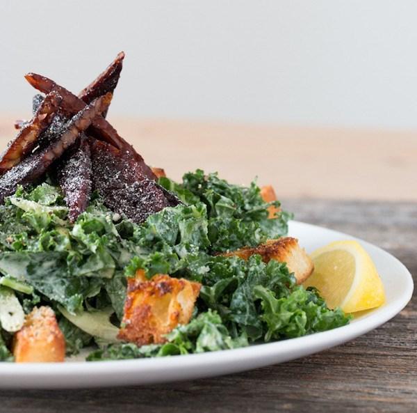 Vegan Kale Caesar Salad with Tempeh Bacon