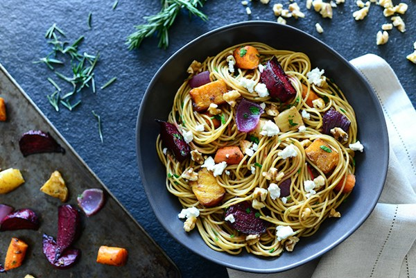 Roasted Root Vegetable Pasta with Walnuts
