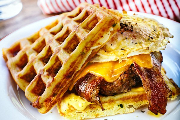 Jalapeno and Cheese Cornbread Waffle Burgers