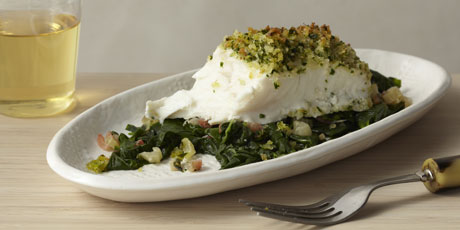 Panko-Crusted Halibut with Swiss Chard