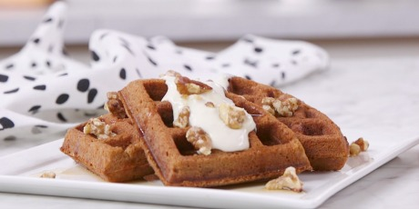 Carrot Cake Waffles with Maple Cream Cheese