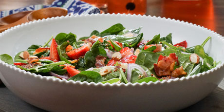 Spinach and Strawberry Salad with Warm Bacon Vinaigrette
