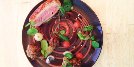 Duck Breast with Sunchokes, Rhubarb, Watercress and Onions
